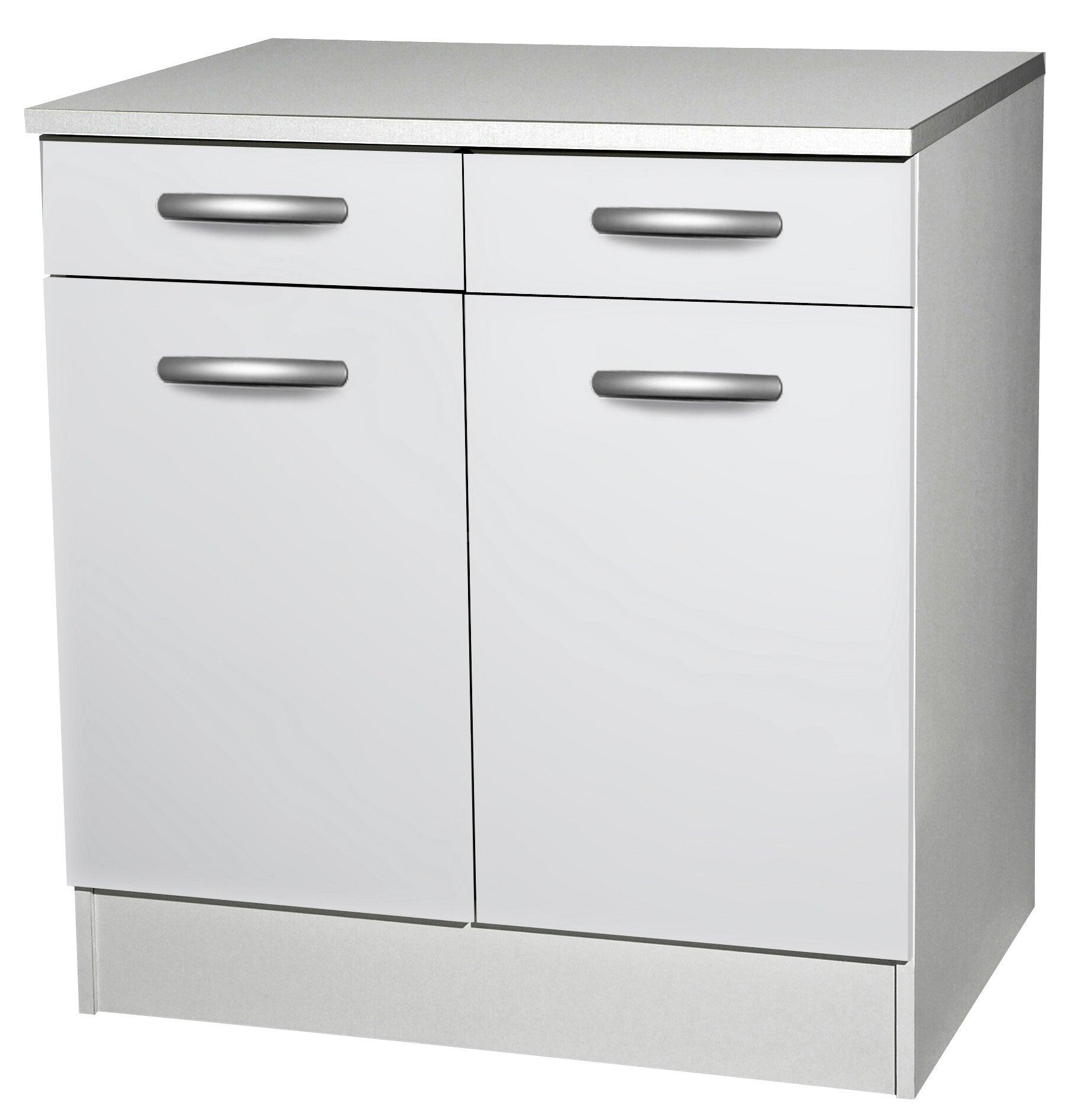 Meuble de cuisine bas 11 portes + 11 tiroirs, blanc, h11x l11x p11cm