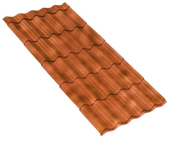 Plaque de toiture imitation tuile composite rouge l.1.02 x ...