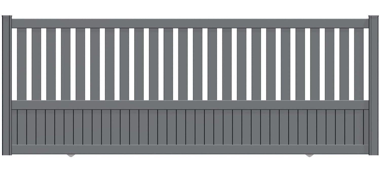 Portail Coulissant Aluminium Penmarch Gris Zinc Naterial L 362 X H 135 Cm Leroy Merlin