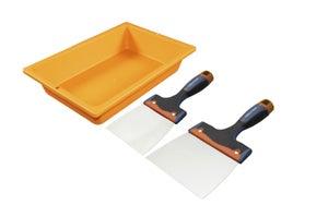 Image : Lot de 2 couteaux et augette à enduire acier inoxydable