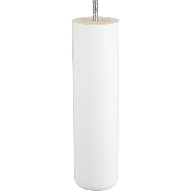 Pied De Lit Sommier Cylindrique Fixe Hêtre Laqué Blanc 25 Cm
