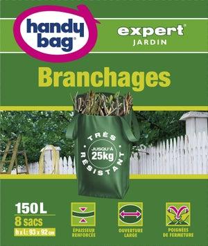 Image : Lot de 8 sacs à végétaux à branchages de jardin HANDY BAG 150 l