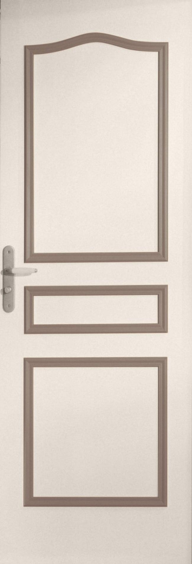 Decoration Porte Interieur Baguette décor de porte de 3 panneaux assemblés, chapeau de gendarme, bois exotique