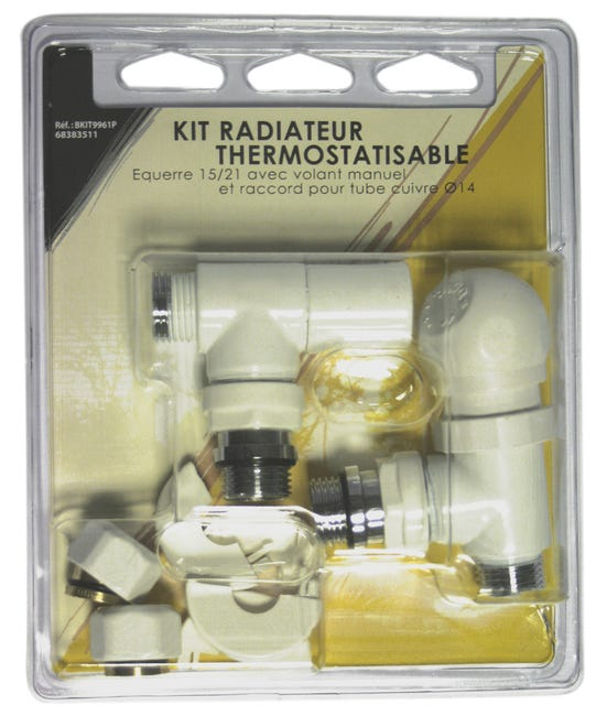 Kit Robinet Thermostatique Equerre 15 23 Male Femelle Laiton Blanc Ecopro Leroy Merlin