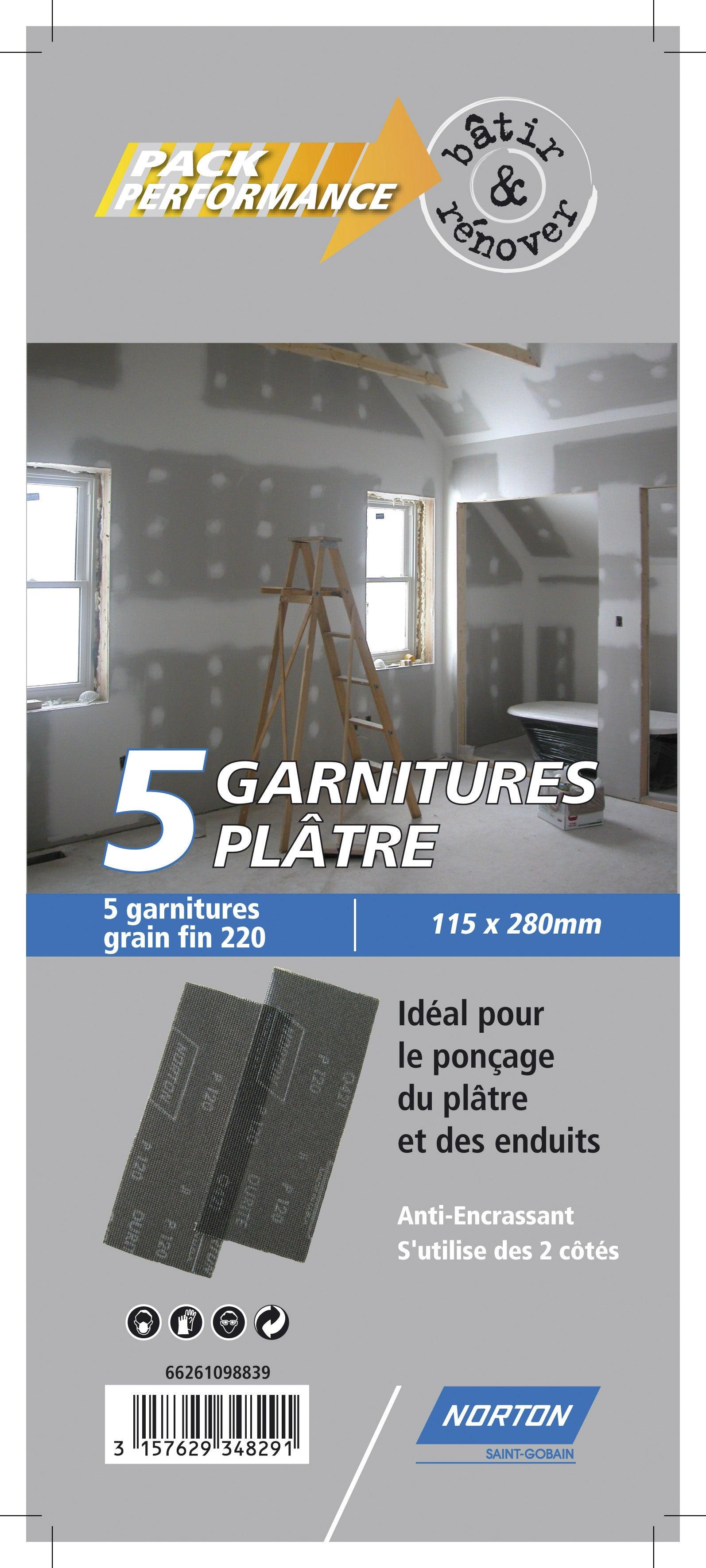 Norton Lot de 5 Garnitures bois 93 x 230 mm Grain 120