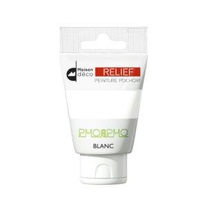 Image : Peinture pochoirs blanc brillant MAISON DECO Relief phosphorescent 0.06 l