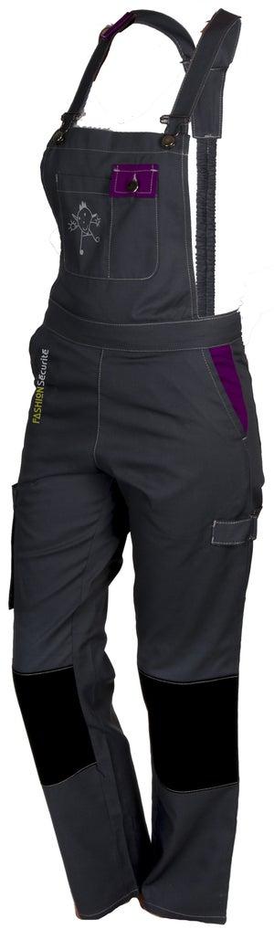 Salopette de travail FASHION SECURITE Pep's gris / violet taille 36-38