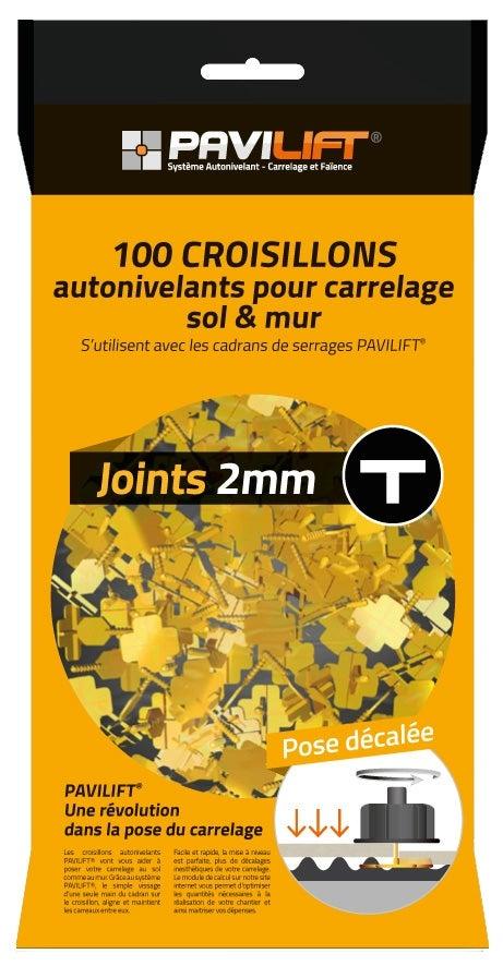 Kit De 100 Croisillons Pavilift En T 2 Mm
