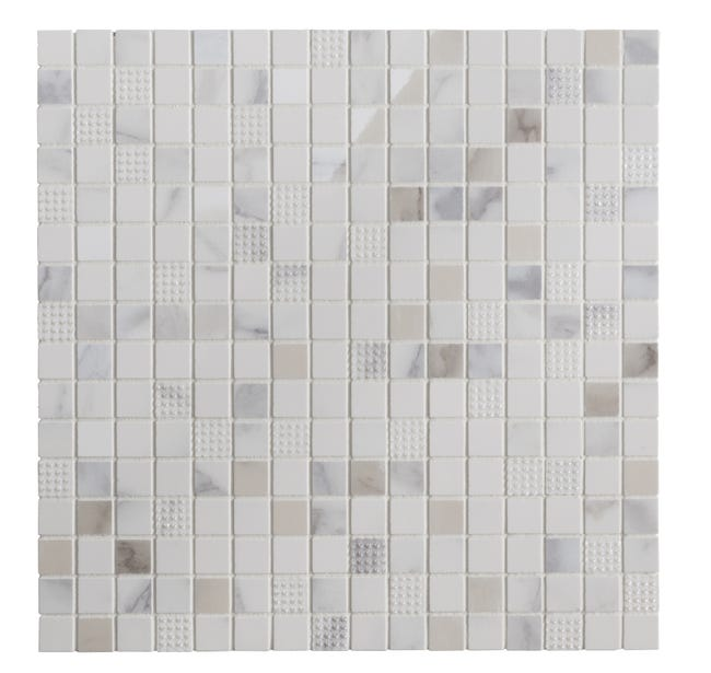 Mosaique Mur Murano Carree Blanc Carrare 1 7 X 1 7 Cm Leroy Merlin