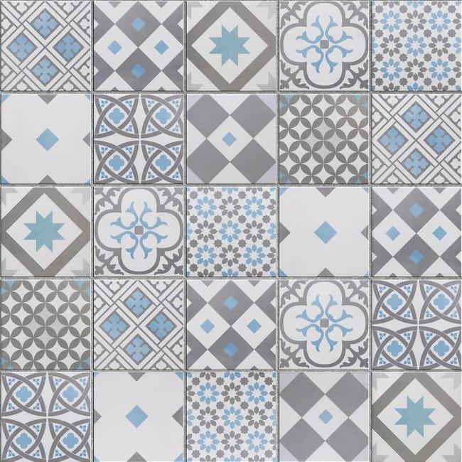 Mosaique Sol Et Mur Gatsby Decor Gris Et Bleu 6 17 X 6 17 Cm Leroy Merlin