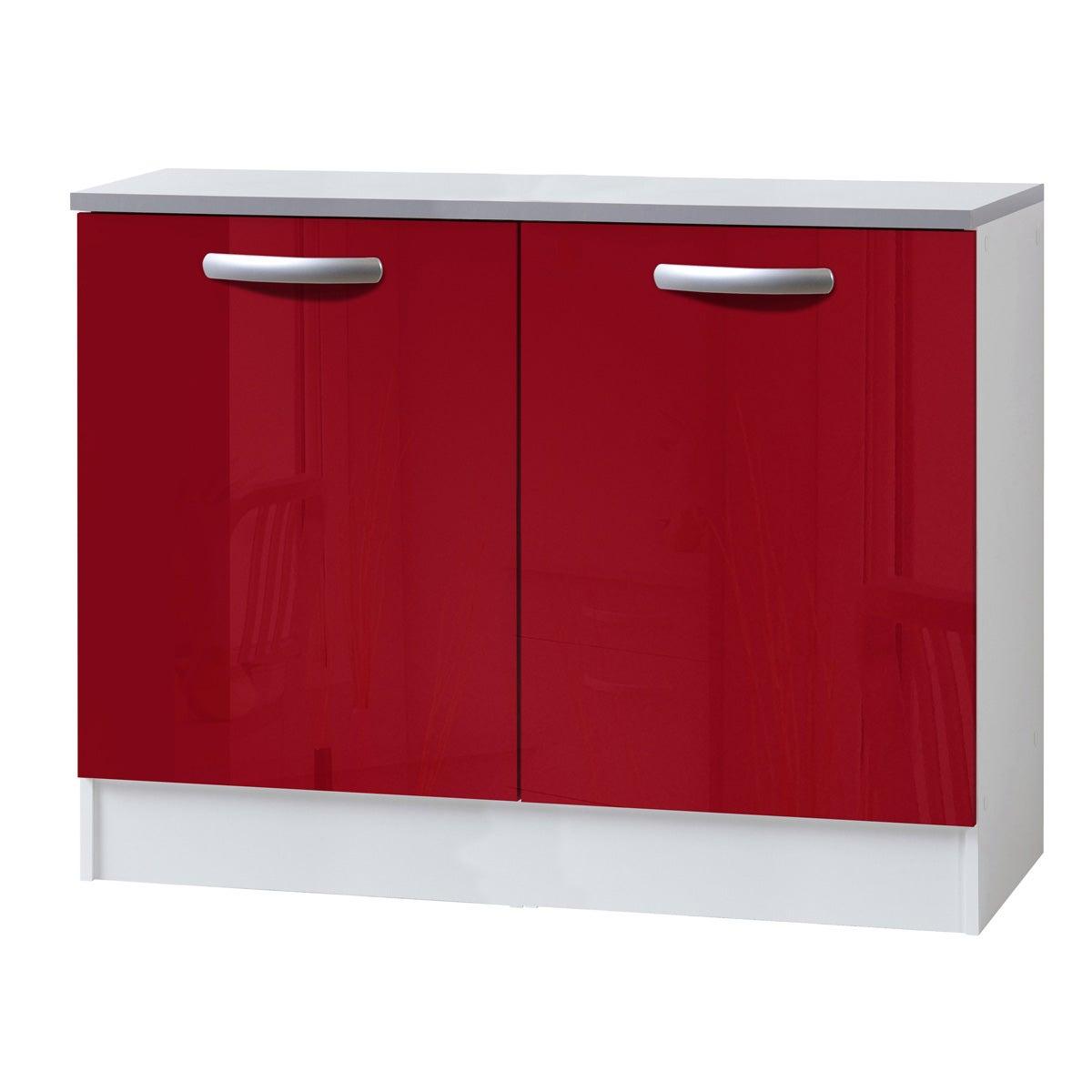 Meuble de cuisine bas 2 portes, rouge brillant, h86x l120x p60cm
