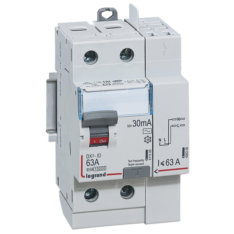 DEBFLEX Interrupteur DIFFERENTIEL 2P 30MA 63A Type A Gris