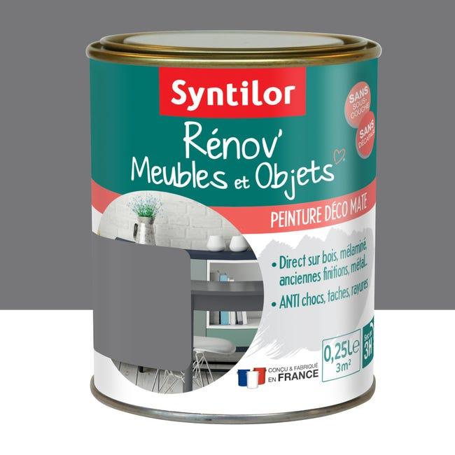Peinture meuble et boiserie Rénov' SYNTILOR gris urbain mat mat 250 ml   Leroy Merlin