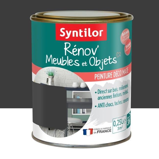 Peinture Meuble Et Boiserie Renov Syntilor Noir Mat 250 Ml Leroy Merlin