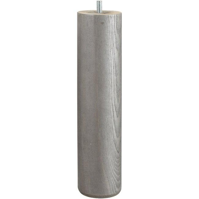 Pied De Lit Sommier Cylindrique Fixe Pin Teinté Gris 25 Cm