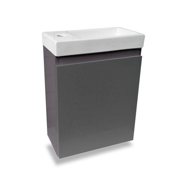 Meuble Lave Mains Sans Miroir Gris Anthracite L 40 X P 22 X H 48 Cm Nelys Leroy Merlin