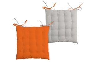 Galette de chaise Duo, beige/orange l.40 x H.7 cm