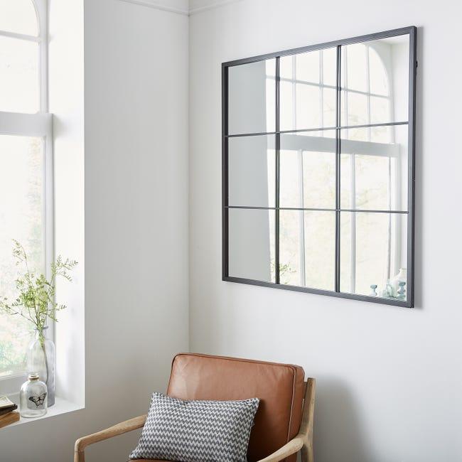 Miroir Carre Atelier Fenetre Noir L 100 X H 100 Cm Leroy Merlin