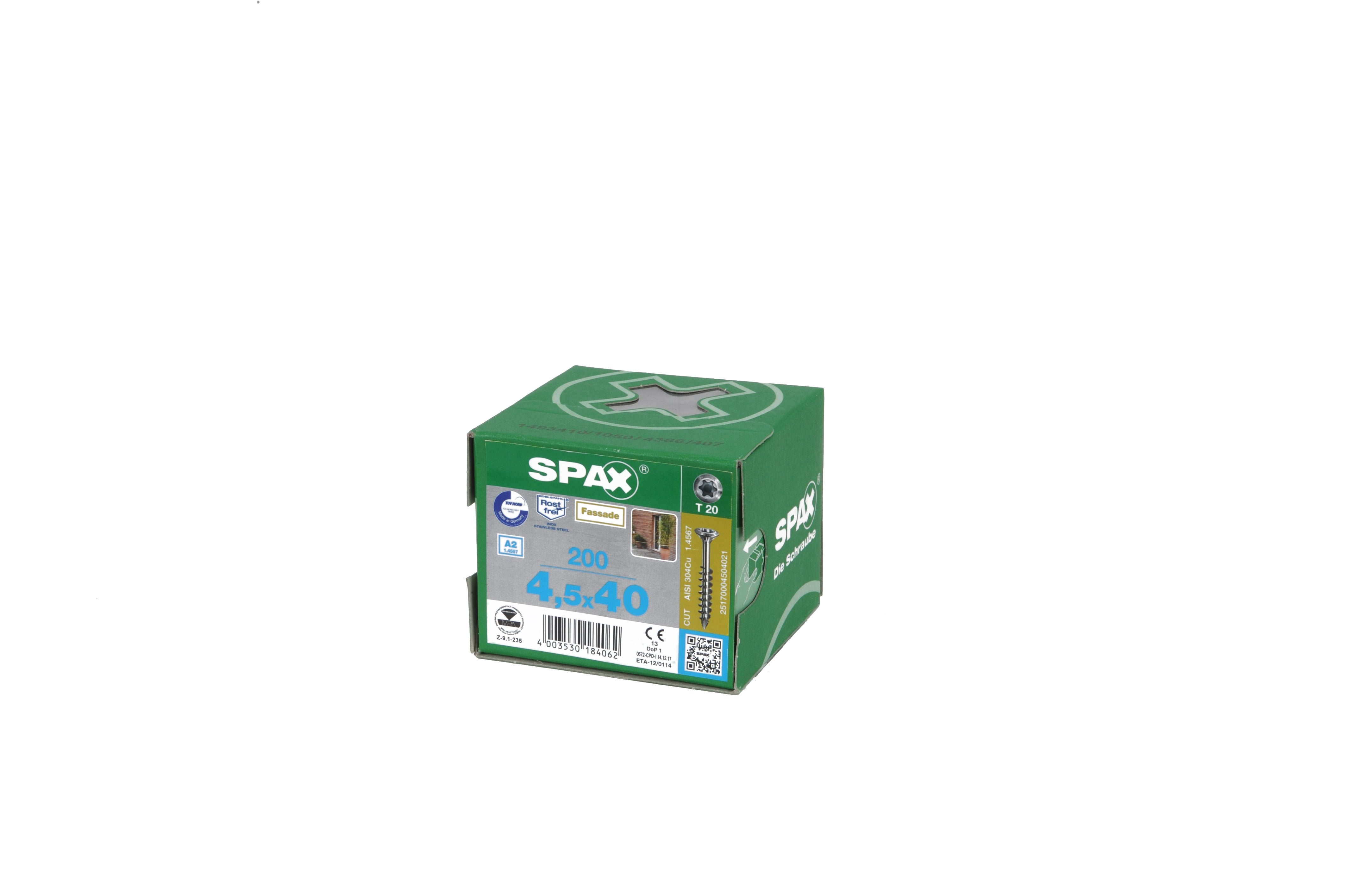 Spax Lot de 200 vis /à bois 4 x 40 mm