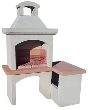Image : Barbecue en béton pierre, l.54 x L.180 x H.190 cm