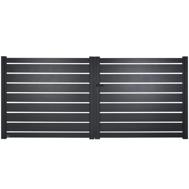 Portail Battant Aluminium Bono Gris Zinc Naterial L 349 X H 151 5 Cm Leroy Merlin