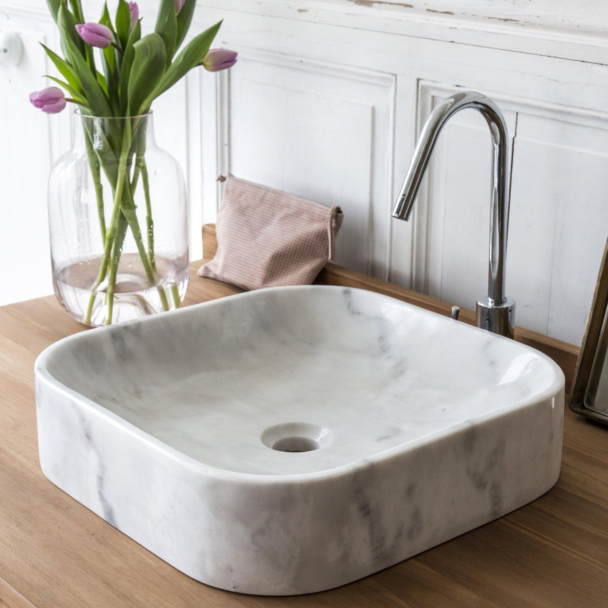 Vasque à poser marbre l.15 x P.15 cm blanc
