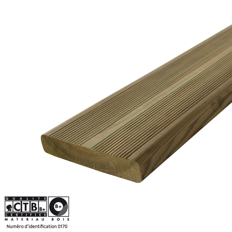 Planche bois Kuhmo 2, pin, vert, L.240 x l.14.5 cm x Ep.27 mm