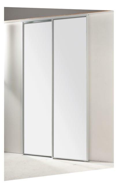 Porte De Placard Coulissante Miroir Argent 2 Portes L 120 X H