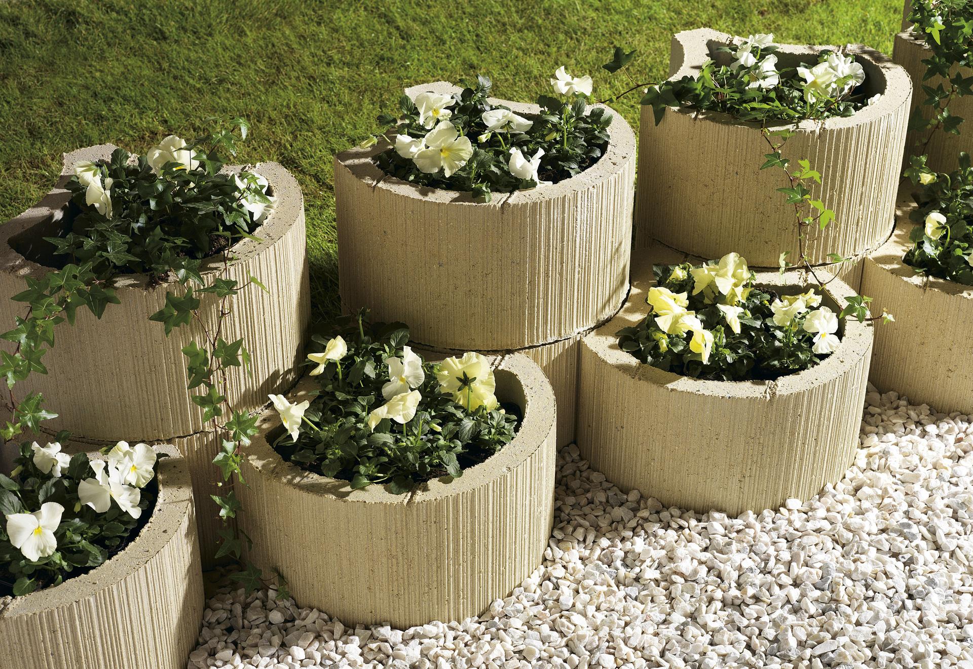 Planter Dans Un Talus muret floral de soutènement à planter floralie béton ton pierre, h.20 x  l.35 cm