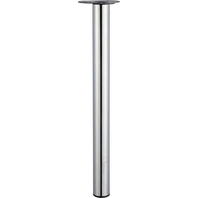 Pied De Table Cylindrique Reglable Acier Chrome Gris De 70 A 73