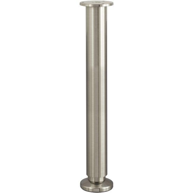Pied De Lit Sommier Cylindrique Réglable Aluminium Chromé Gris De 35 à 37 Cm