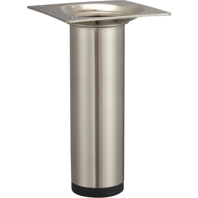 Pied De Meuble Cylindrique Fixe Acier Brossé Gris 10 Cm