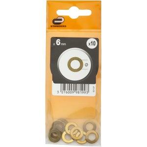 Lot de 10 rondelles laiton laitonné, Diam.6 mm STANDERS