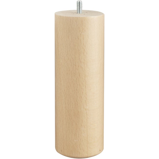Pied De Lit Sommier Cylindrique Fixe Hêtre Vernis Blanc 20 Cm