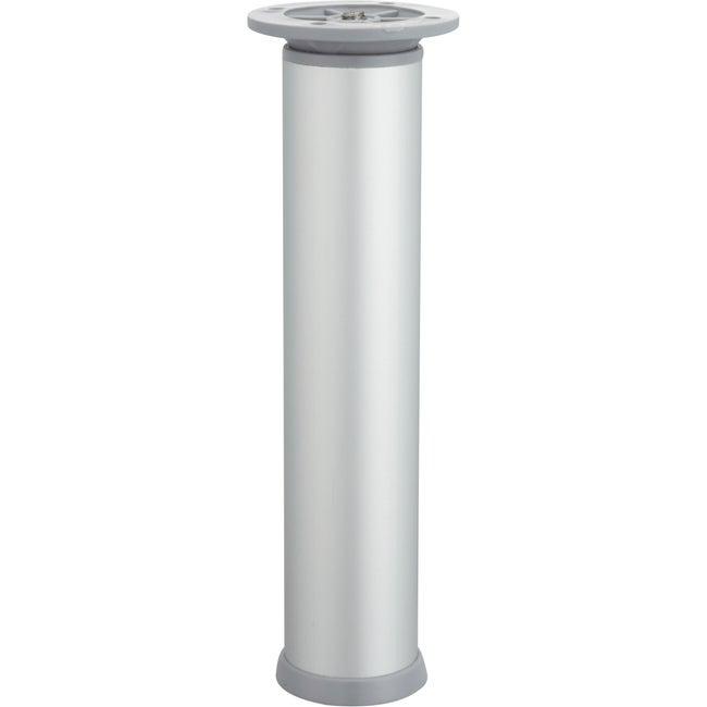 Pied De Meuble Cylindrique Réglable Acier Mat Gris De 20 à 23 Cm