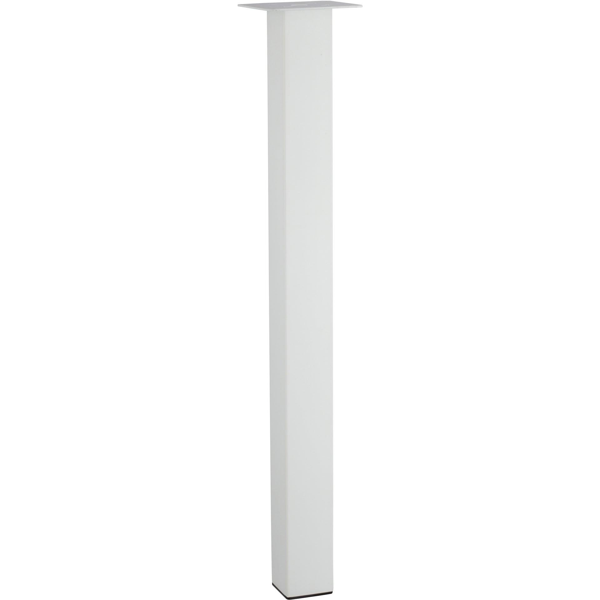 Pied Table Carre Reglable Acier Epoxy Blanc De 70 A 73 Cm Leroy