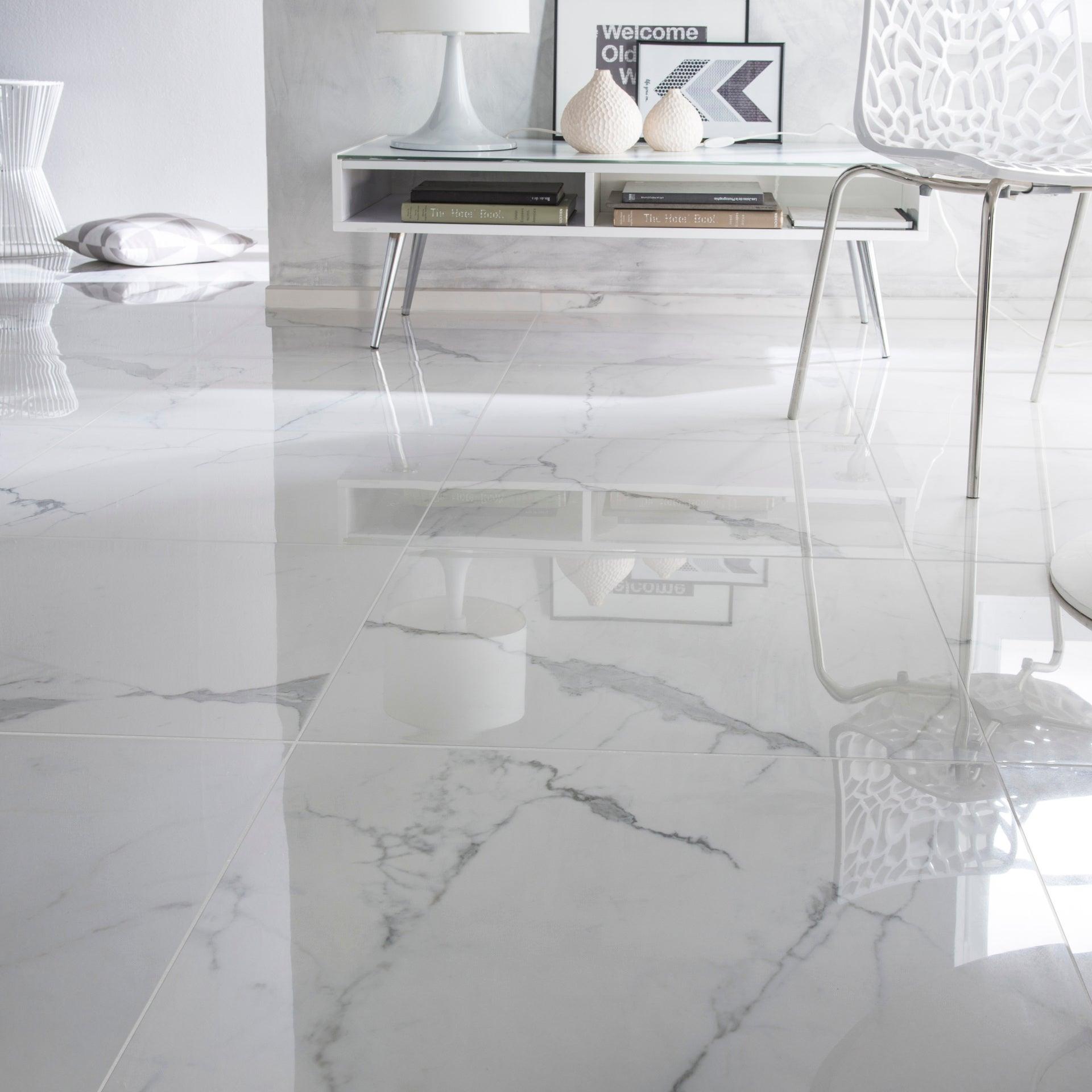 Carrelage sol et mur intenso effet marbre blanc Rimini l.10 x L.10 cm