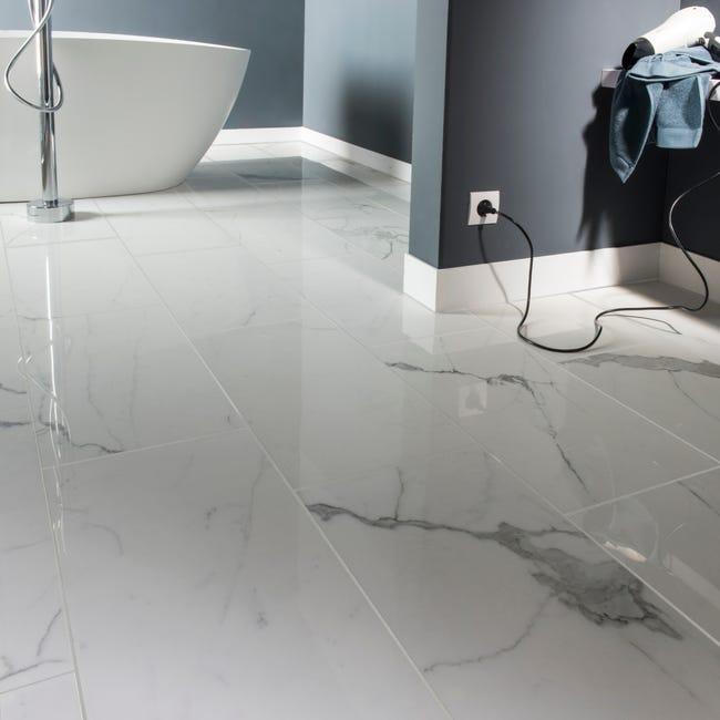 Carrelage sol/mur intenso marbre blanc Rimini l.30xL.60 cm CERIM INSPIRED+39 | Leroy Merlin