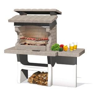Image : Barbecue en béton beige et gris Luxor, l.159 x L.72 x H.161 cm