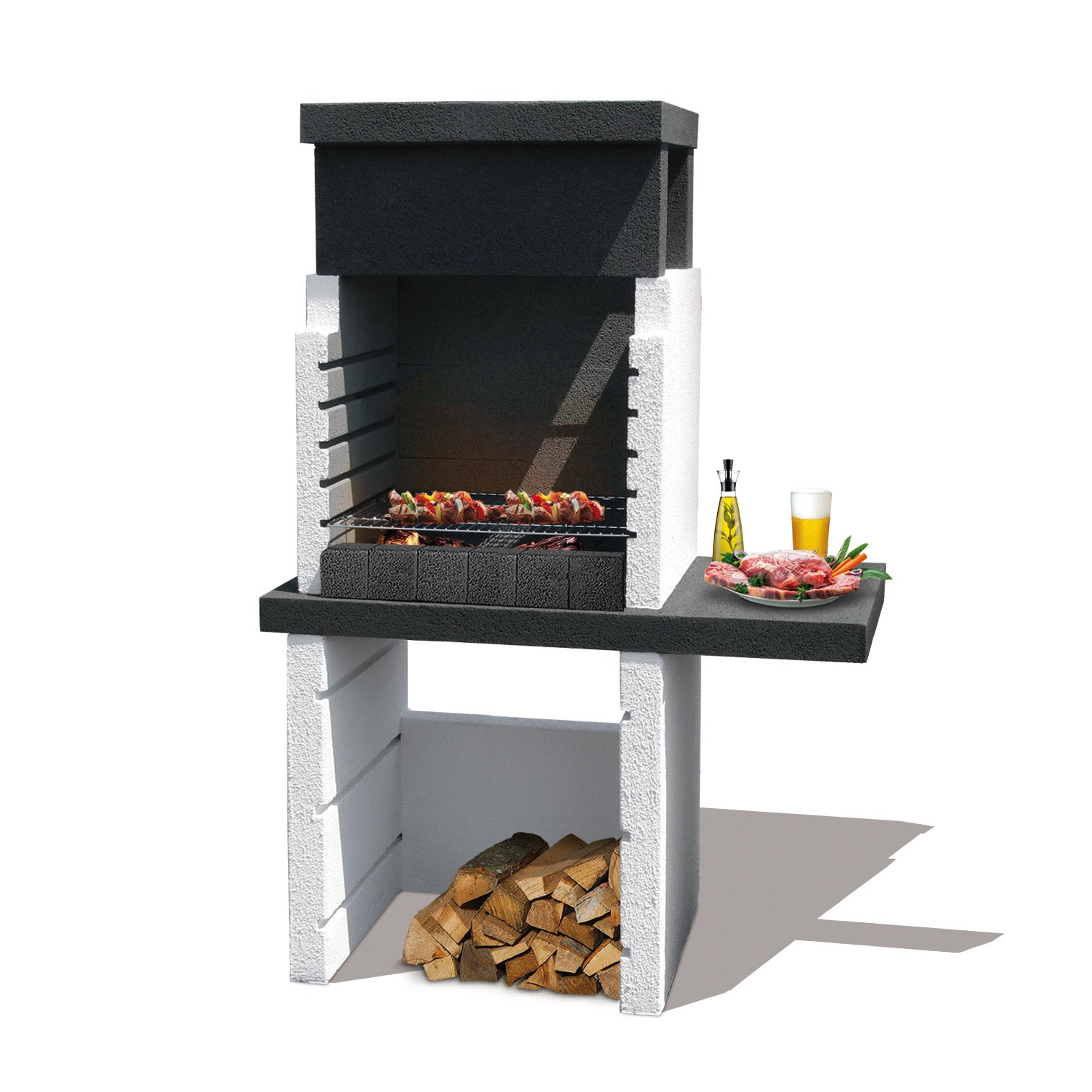 Barbecue en béton gris et noir Kos, l.125 x L.72 x H.161 cm