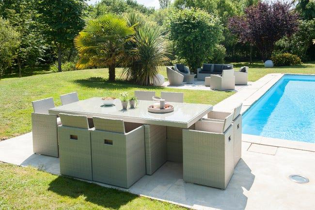 Salon De Jardin Encastrable Resine Tressee Gris 8 Personnes