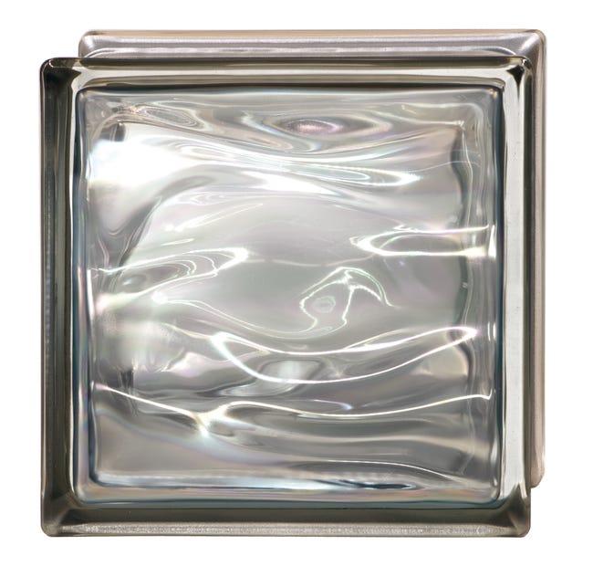 Brique de verre, gris ondulé brillant