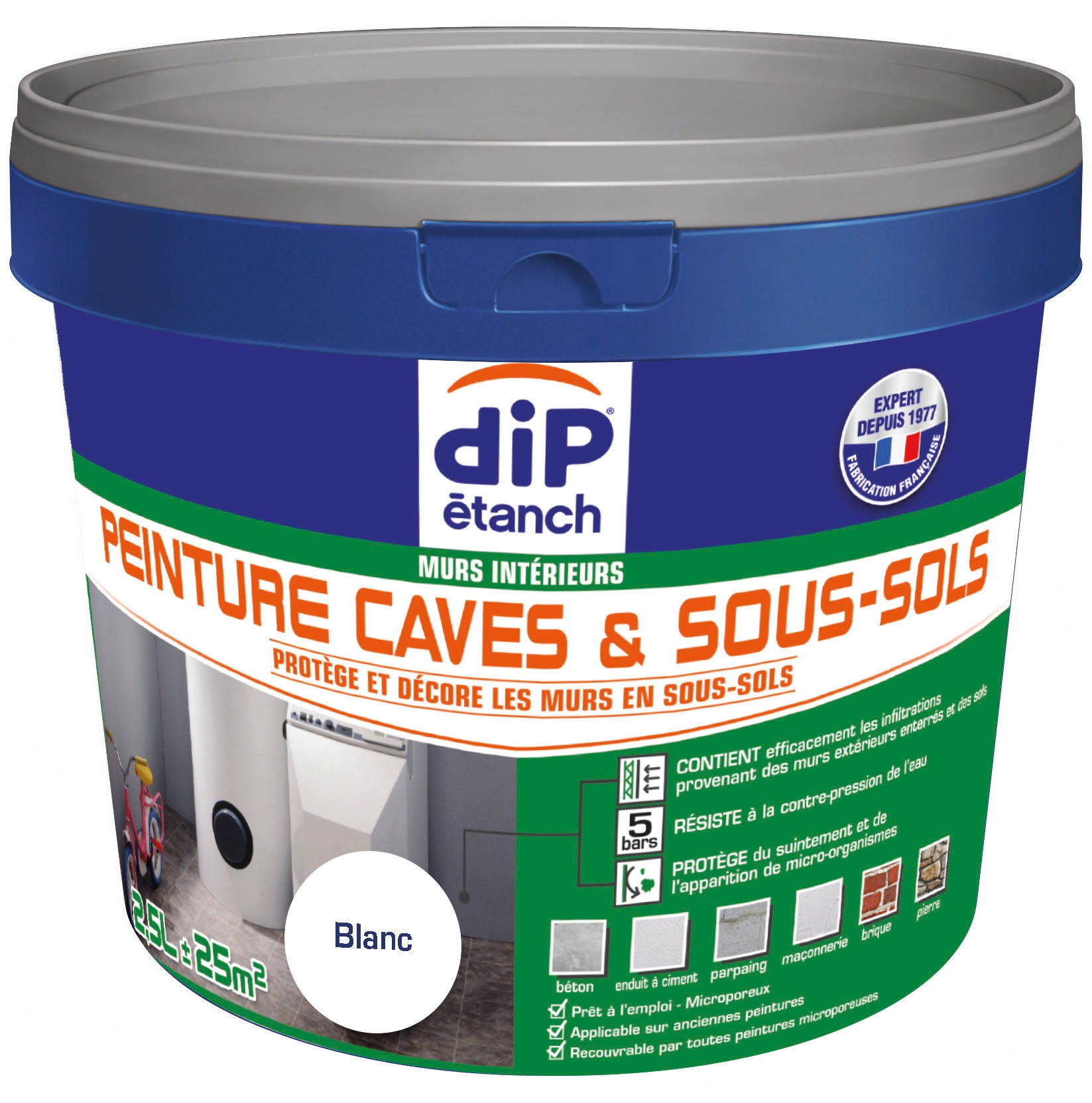 Peinture cave et sol Peinture cave & sous-sol, DIP blanc 2.5 l | Leroy Merlin
