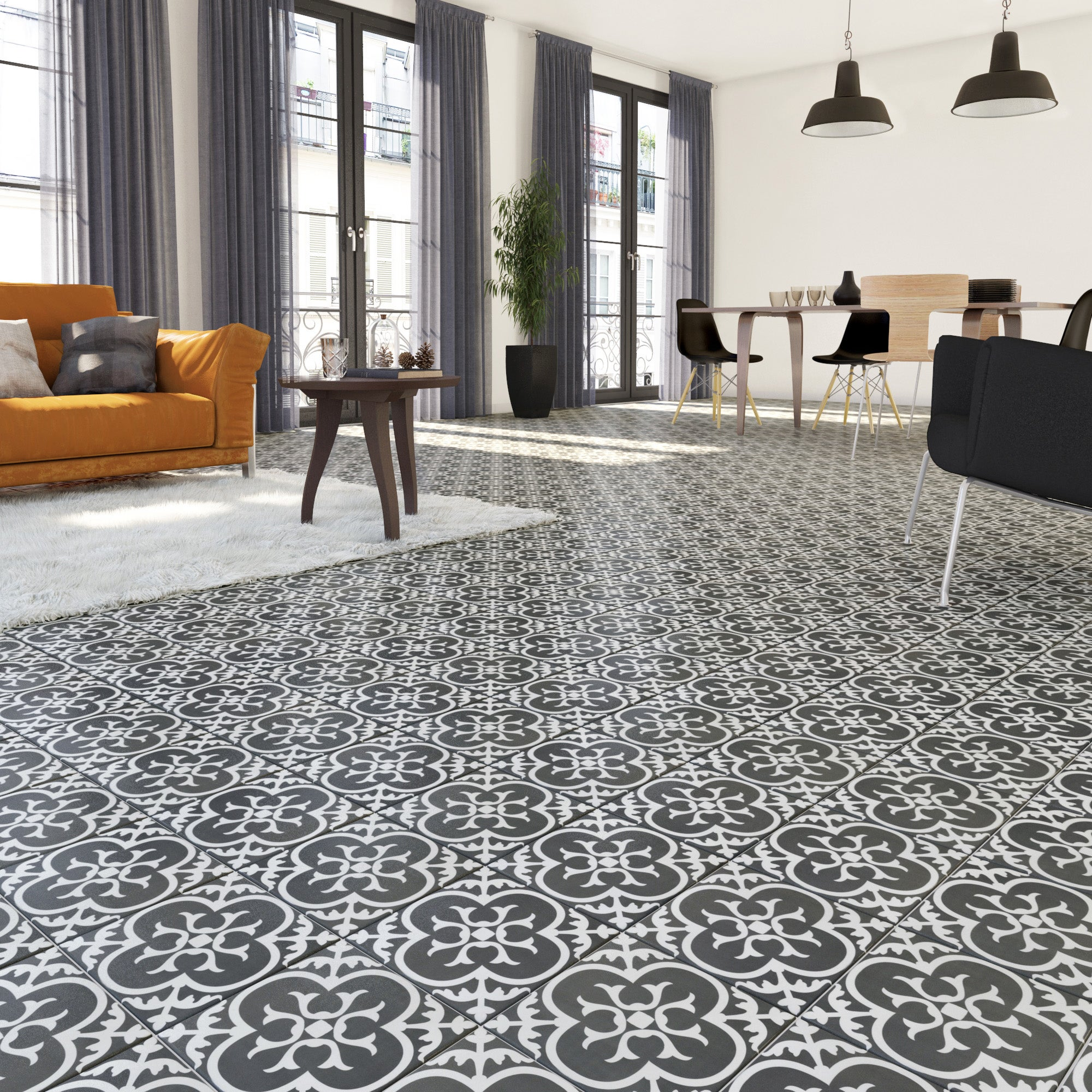 carrelage sol mur forte carreau ciment noir et blanc gatsby floral l 20xl 20 cm