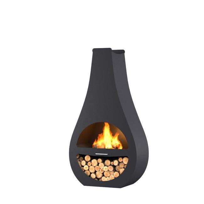 Cheminee D Exterieur Au Charbon De Bois Barbecook Kuro Si Noir