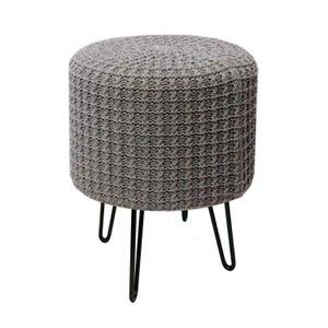 Image : Pouf d'intérieur gris Jules tricot x 30