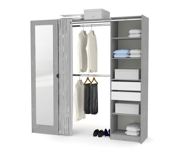 Kit Dressing Effet Frene Gris Dresscode H 220 X L 220 X P 50 Cm Leroy Merlin