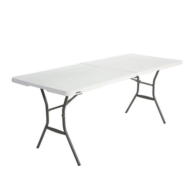 Table de jardin de repas Lifetime rectangulaire blanc 6 personnes