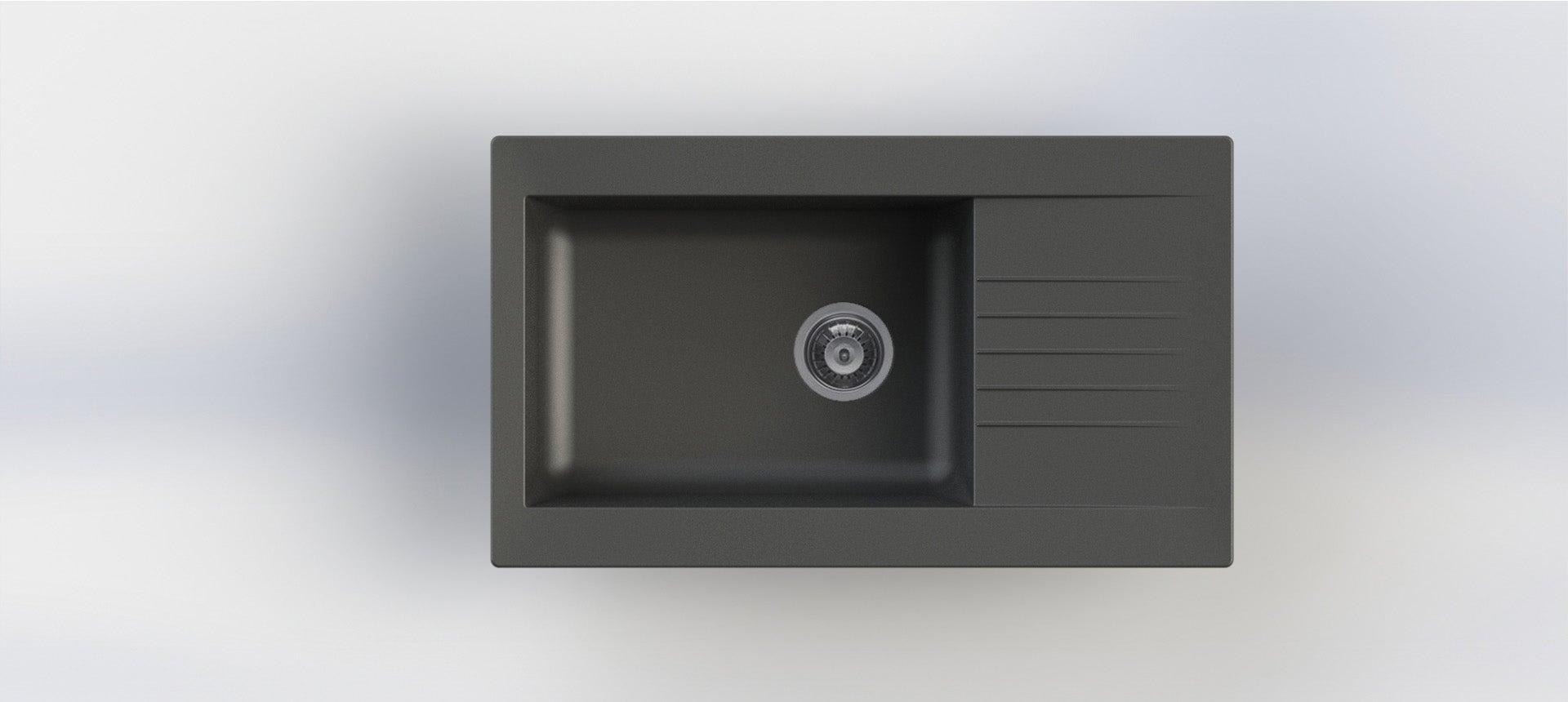 Evier à encastrer résine noir Karta, 1 grand bac avec égouttoir