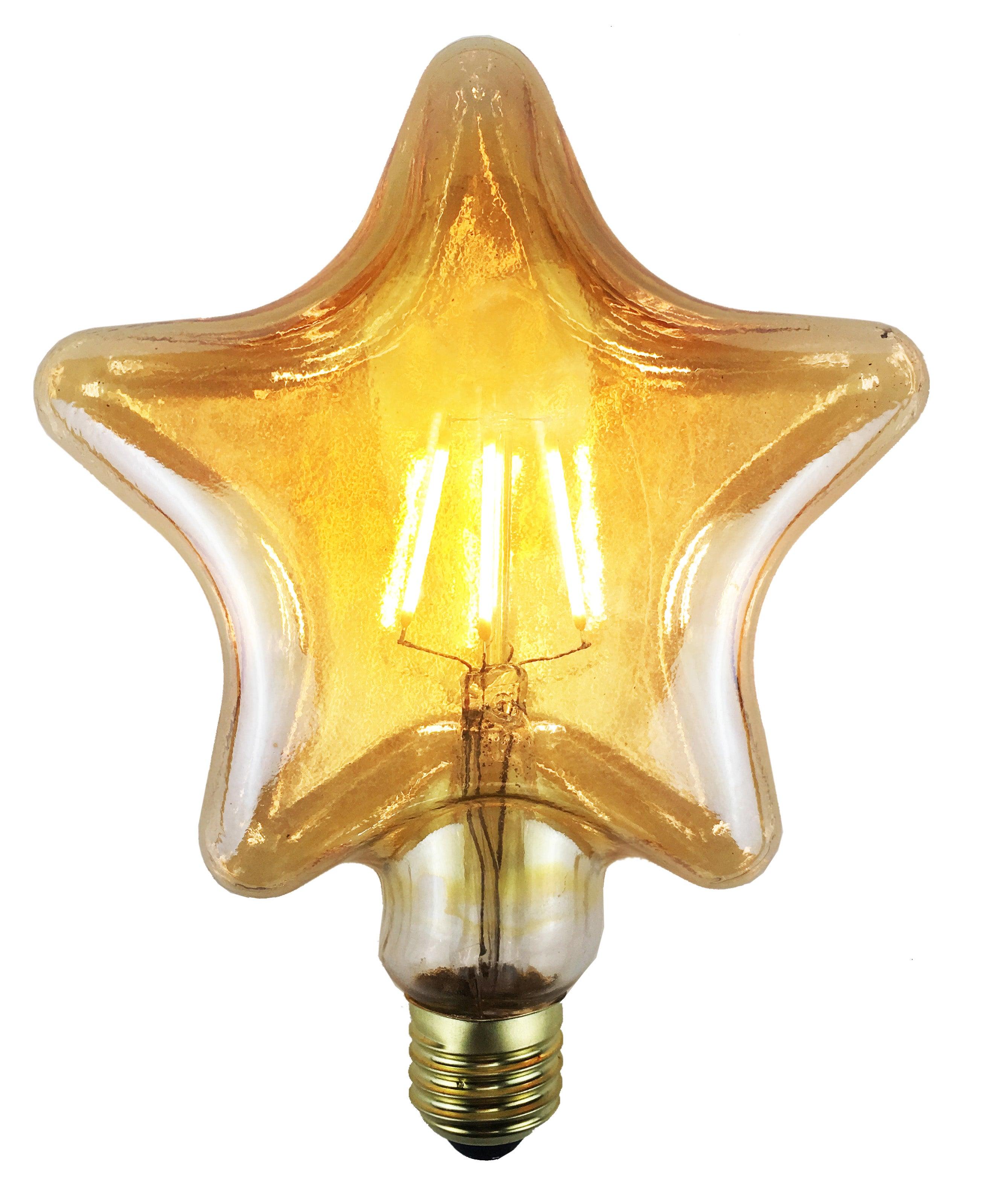 Ampoule décorative led ambré étoile E27 380 Lm = 35 W blanc chaud, SAMPA HELIOS
